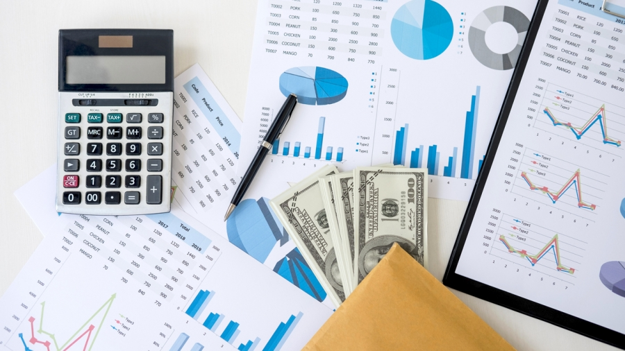 Business accessories in selective focus, Items for accounting, Marketing strategy, investment and saving, accounting and stock market.